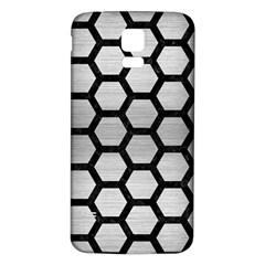Hexagon2 Black Marble & Silver Brushed Metal (r) Samsung Galaxy S5 Back Case (white) by trendistuff
