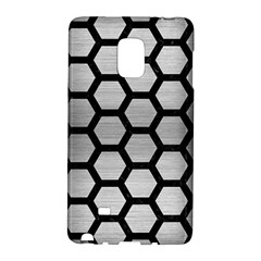 Hexagon2 Black Marble & Silver Brushed Metal (r) Samsung Galaxy Note Edge Hardshell Case