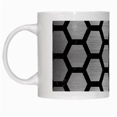 Hexagon2 Black Marble & Silver Brushed Metal White Mug by trendistuff
