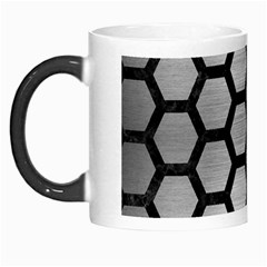 Hexagon2 Black Marble & Silver Brushed Metal Morph Mug by trendistuff