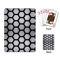 Hexagon2 Black Marble & Silver Brushed Metal Playing Cards Single Design by trendistuff