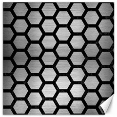 Hexagon2 Black Marble & Silver Brushed Metal Canvas 16  X 16  by trendistuff