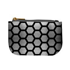 Hexagon2 Black Marble & Silver Brushed Metal Mini Coin Purse by trendistuff