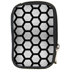Hexagon2 Black Marble & Silver Brushed Metal Compact Camera Leather Case by trendistuff