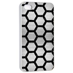 Hexagon2 Black Marble & Silver Brushed Metal Apple Iphone 4/4s Seamless Case (white)