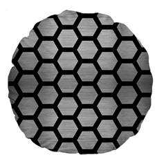 Hexagon2 Black Marble & Silver Brushed Metal Large 18  Premium Round Cushion  by trendistuff