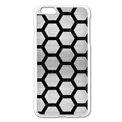 Hexagon2 Black Marble & Silver Brushed Metal Apple Iphone 6 Plus/6s Plus Enamel White Case by trendistuff