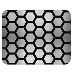 Hexagon2 Black Marble & Silver Brushed Metal Double Sided Flano Blanket (medium) by trendistuff