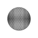 HEXAGON1 BLACK MARBLE & SILVER BRUSHED METAL (R) Magnet 3  (Round) Front