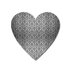 Hexagon1 Black Marble & Silver Brushed Metal (r) Magnet (heart) by trendistuff