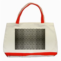 Hexagon1 Black Marble & Silver Brushed Metal (r) Classic Tote Bag (red) by trendistuff