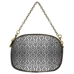 Hexagon1 Black Marble & Silver Brushed Metal (r) Chain Purse (two Sides) by trendistuff