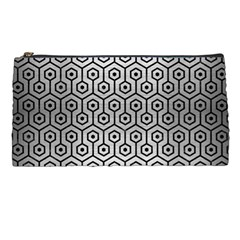 Hexagon1 Black Marble & Silver Brushed Metal (r) Pencil Case by trendistuff