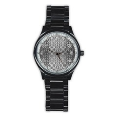 Hexagon1 Black Marble & Silver Brushed Metal (r) Stainless Steel Round Watch by trendistuff
