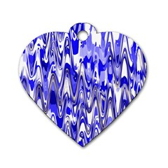 Funky Chevron Blue Dog Tag Heart (two Sides) by MoreColorsinLife