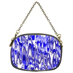 Funky Chevron Blue Chain Purses (two Sides)  by MoreColorsinLife