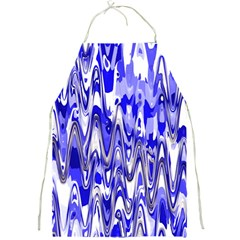 Funky Chevron Blue Full Print Aprons by MoreColorsinLife