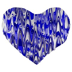 Funky Chevron Blue Large 19  Premium Flano Heart Shape Cushions
