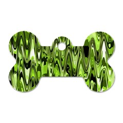 Funky Chevron Green Dog Tag Bone (one Side) by MoreColorsinLife