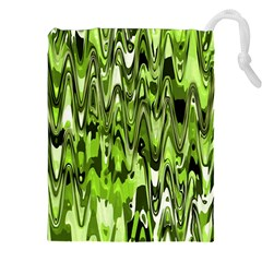 Funky Chevron Green Drawstring Pouches (xxl) by MoreColorsinLife