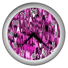Funky Chevron Hot Pink Wall Clocks (silver)  by MoreColorsinLife