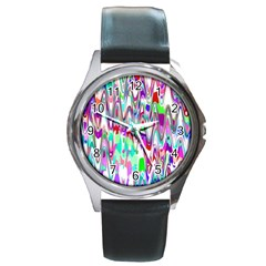Funky Chevron Multicolor Round Metal Watches by MoreColorsinLife