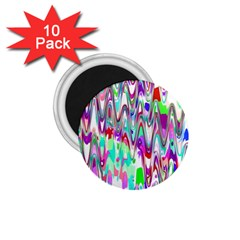 Funky Chevron Multicolor 1 75  Magnets (10 Pack)  by MoreColorsinLife