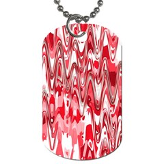 Funky Chevron Red Dog Tag (two Sides) by MoreColorsinLife