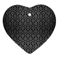 Hexagon1 Black Marble & Silver Brushed Metal Ornament (heart) by trendistuff