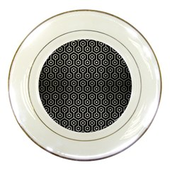 Hexagon1 Black Marble & Silver Brushed Metal Porcelain Plate by trendistuff