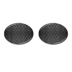 Hexagon1 Black Marble & Silver Brushed Metal Cufflinks (oval) by trendistuff