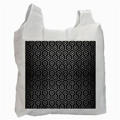 Hexagon1 Black Marble & Silver Brushed Metal Recycle Bag (two Side) by trendistuff