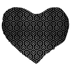 Hexagon1 Black Marble & Silver Brushed Metal Large 19  Premium Heart Shape Cushion by trendistuff