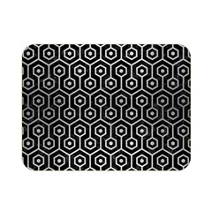 Hexagon1 Black Marble & Silver Brushed Metal Double Sided Flano Blanket (mini)