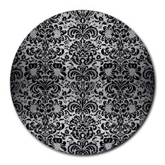 Damask2 Black Marble & Silver Brushed Metal (r) Round Mousepad by trendistuff