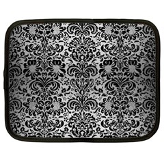 Damask2 Black Marble & Silver Brushed Metal (r) Netbook Case (xl) by trendistuff