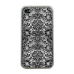 Damask2 Black Marble & Silver Brushed Metal (r) Apple Iphone 4 Case (clear) by trendistuff