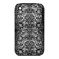 Damask2 Black Marble & Silver Brushed Metal (r) Apple Iphone 3g/3gs Hardshell Case (pc+silicone) by trendistuff