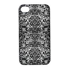 Damask2 Black Marble & Silver Brushed Metal (r) Apple Iphone 4/4s Hardshell Case With Stand by trendistuff