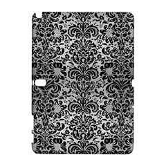 Damask2 Black Marble & Silver Brushed Metal (r) Samsung Galaxy Note 10 1 (p600) Hardshell Case by trendistuff