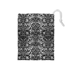 Damask2 Black Marble & Silver Brushed Metal (r) Drawstring Pouch (medium) by trendistuff