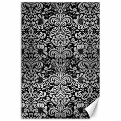 Damask2 Black Marble & Silver Brushed Metal Canvas 24  X 36  by trendistuff