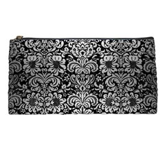 Damask2 Black Marble & Silver Brushed Metal Pencil Case by trendistuff