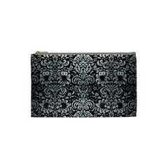 Damask2 Black Marble & Silver Brushed Metal Cosmetic Bag (small) by trendistuff