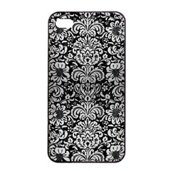 Damask2 Black Marble & Silver Brushed Metal Apple Iphone 4/4s Seamless Case (black) by trendistuff
