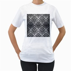 Damask1 Black Marble & Silver Brushed Metal (r) Women s T Shirt (white) (two Sided) by trendistuff