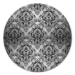 Damask1 Black Marble & Silver Brushed Metal (r) Magnet 5  (round) by trendistuff