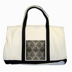 Damask1 Black Marble & Silver Brushed Metal (r) Two Tone Tote Bag by trendistuff