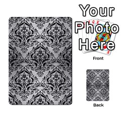 Damask1 Black Marble & Silver Brushed Metal (r) Multi Purpose Cards (rectangle) by trendistuff