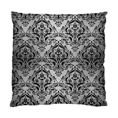 Damask1 Black Marble & Silver Brushed Metal (r) Standard Cushion Case (one Side) by trendistuff